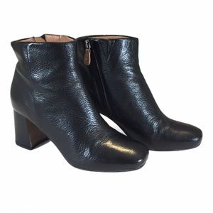 Gentle Souls Troy Black Leather Block Heel Booties